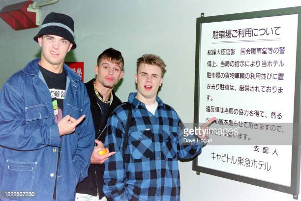 Gary Barlow, Robbie Williams and Jason Orange of Take That in Tokyo, March 1993