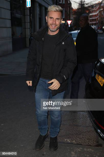 Gary Barlow seen arriving at the BBC for The One Show on March 19 2018 in London England