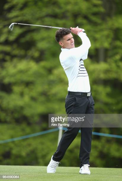Gary Beadle plays his second shot on the 2nd hole during the Pro Am event prior to the start of GolfSixes at The Centurion Club on May 4 2018 in St...