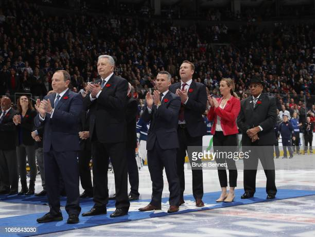 Gary Bettman Alexander Yakushev Martin St Louis Martin Brodeur Jayna Hefford and Willie O'Ree are introduced at the start of the Hall of Fame game...