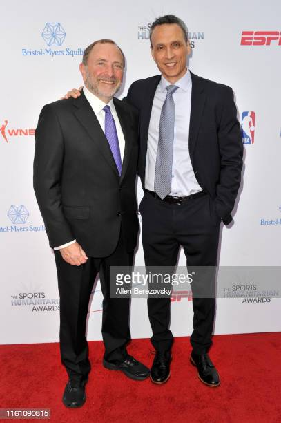 Gary Bettman and Jimmy Pitaro attend the 5th annual Sports Humanitarian Awards presented by ESPN at The Novo Theater at L.A. Live on July 09, 2019 in...
