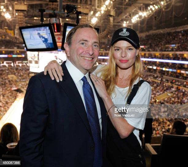 Gary Bettman and Kate Bosworth attend Game One of the 2014 NHL Stanley Cup Final at the Staples Center on June 4 2014 in Los Angeles California