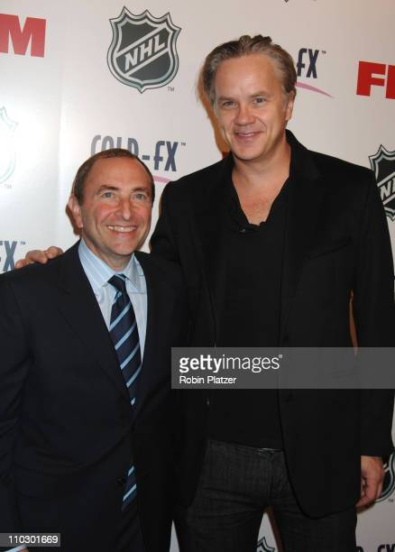 Gary Bettman and Tim Robbins during The NHL and FHM Magazine Celebrate The 20062007 Hockey Season at Marquee in New York City New York United States