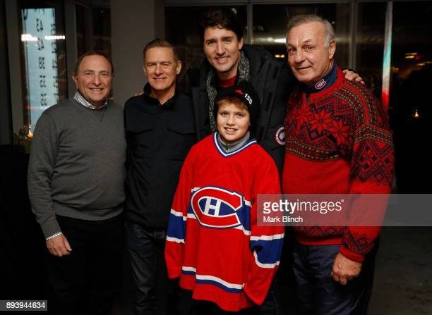 Gary Bettman Bryan Adams Justin Trudeau Xavier Trudeau and Guy Lafleur pose for a group photo prior to the 2017 Scotiabank NHL 100 Classic between...