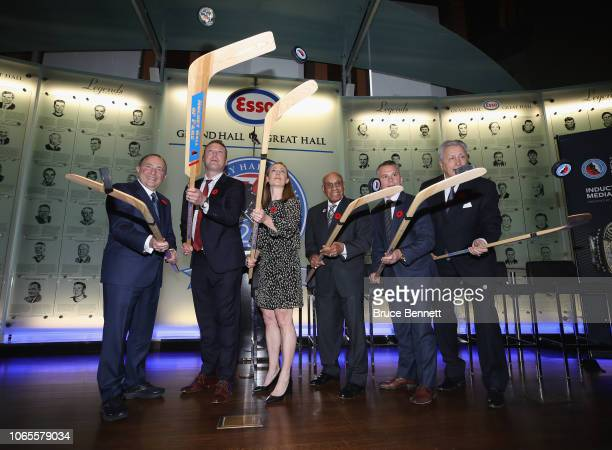 Gary Bettman Martin Brodeur Jayna Hefford Willie O'Ree Martin St Louis and Alexander Yakushev take part in a press conference and photo opportunity...