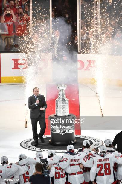Gary Bettman presents the Stanley Cup to the Washington Capitals after Game Five of the Stanley Cup Final against the Vegas Golden Knights during the...