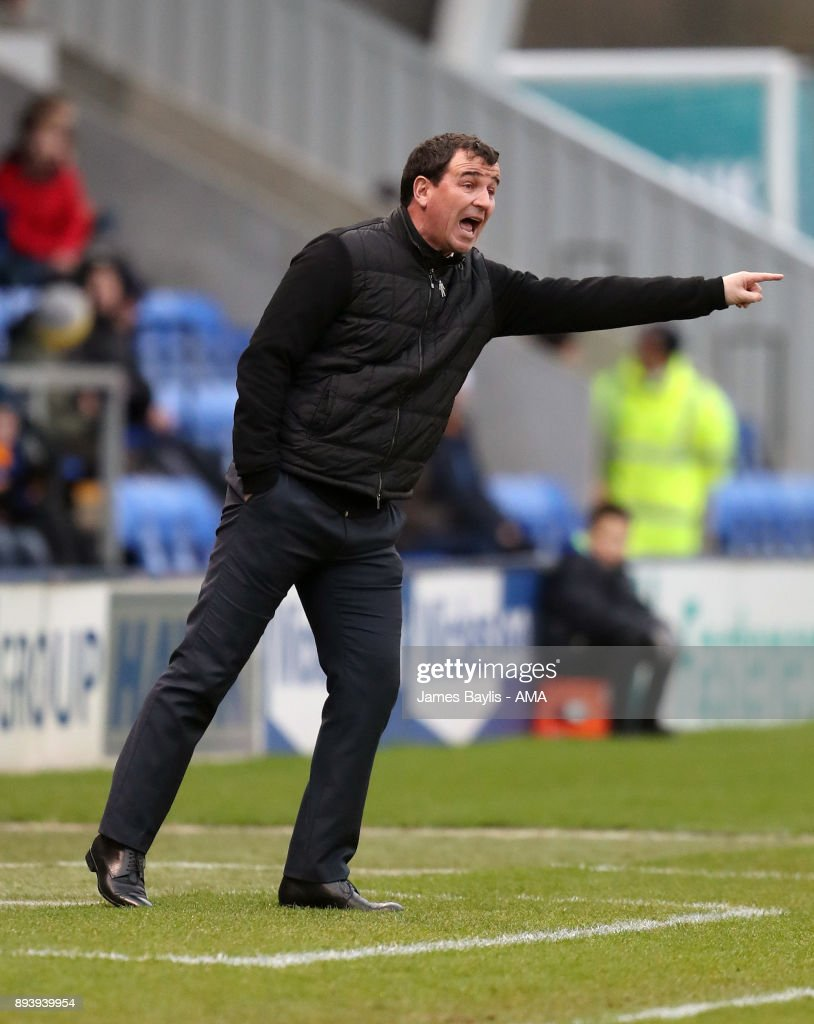 Gary Bowyer Head coach/manager of Blackpool during the Sky Bet League One match between Shrewsbury Town and Blackpool at New Meadow on December 16, 2017 in Shrewsbury, England.