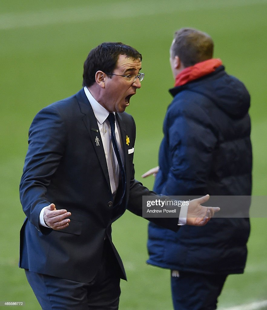 Gary Bowyer manager of Blackburn Rovers reacts during the FA Cup Quarter Final match between Liverpool and Blackburn Rovers at Anfield on March 8, 2015 in Liverpool, England.