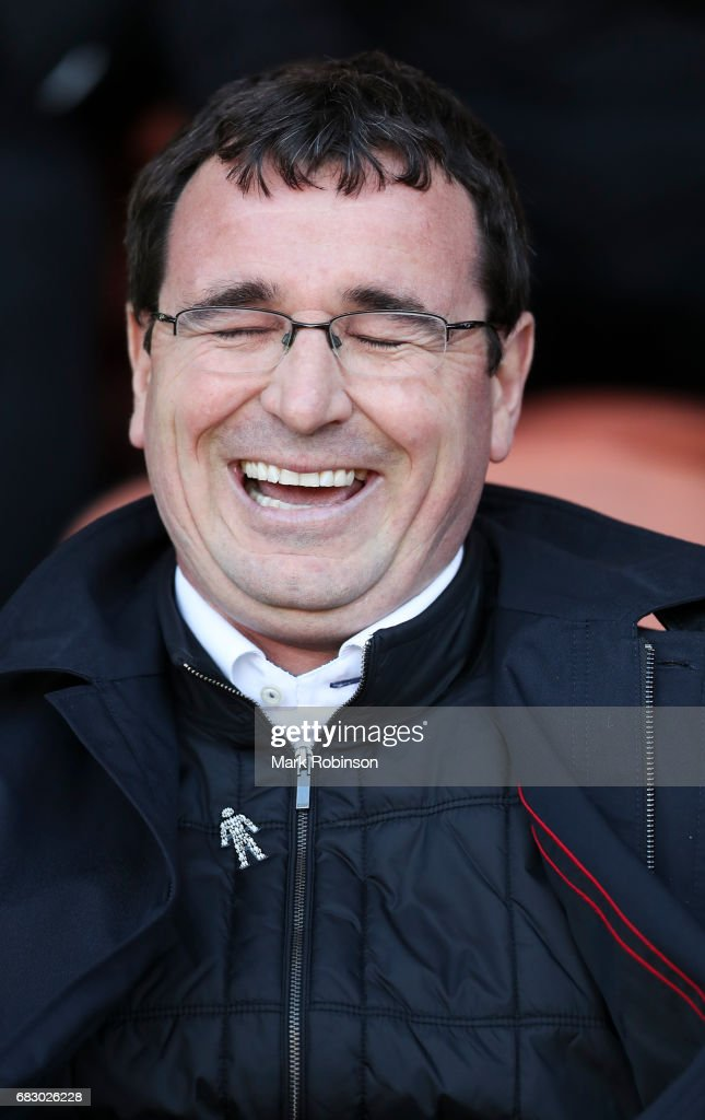 Gary Bowyer manager of Blackpool during the Sky Bet League Two match between Blackpool and Luton Town at Bloomfield Road on May 14, 2017 in Blackpool, England.