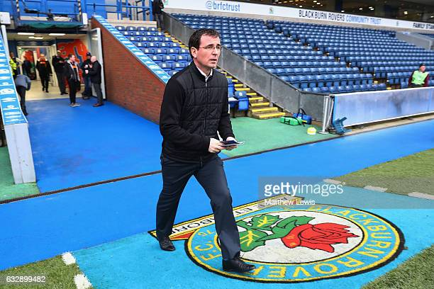 Gary Bowyer manager of Blackpool inspects the pitch prior to the Emirates FA Cup Fourth Round match between Blackburn Rovers and Blackpool at Ewood...