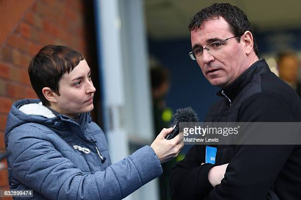 Gary Bowyer manager of Blackpool is interviewed prior to the Emirates FA Cup Fourth Round match between Blackburn Rovers and Blackpool at Ewood Park...