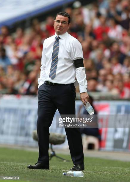 Gary Bowyer manager of Blackpool looks on during the Sky Bet League Two Playoff Final between Blackpool and Exeter City at Wembley Stadium on May 28...