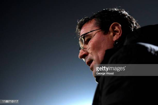 Gary Bowyer manager of Bradford City looks on ahead of the FA Cup First Round Replay match between Bradford City and Shrewsbury Town at Coral Windows...