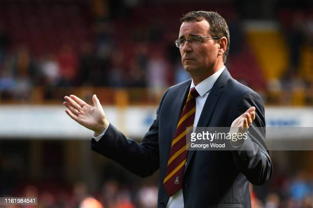 Gary Bowyer manager of Bradford City reacts after the PreSeason Friendly match between Bradford City and Liverpool at Northern Commercials Stadium on...