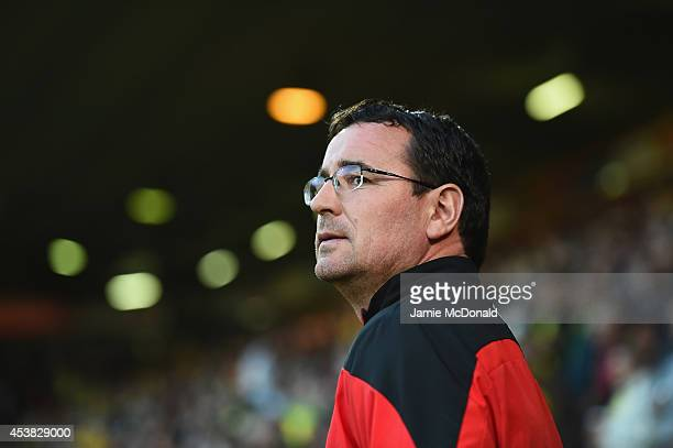 Gary Bowyer of Blackburn Rovers looks on during the Sky Bet Championship match between Norwich City and Blackburn Rovers at Carrow Road on August 19...