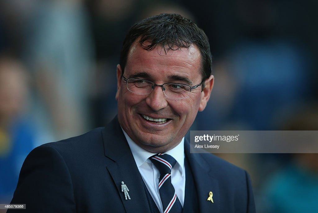Gary Bowyer the manager of Blackburn Rovers looks on prior to the Sky Bet Championship match between Blackburn Rovers and Bolton Wanderers at Ewood park on August 28, 2015 in Blackburn, England.