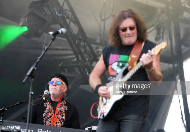 Gary Brooker and Geoff Whitehorn of Procol Harum during The Nokia Isle of Wight Festival 2006 Day 3 at Seaclose Park in Newport Isle of Wight Great...