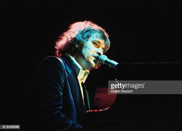 Gary Brooker of Procol Harum pop group at British Music Festival 1976 Photo shows Half body shot of Gary Brooker seated at the piano