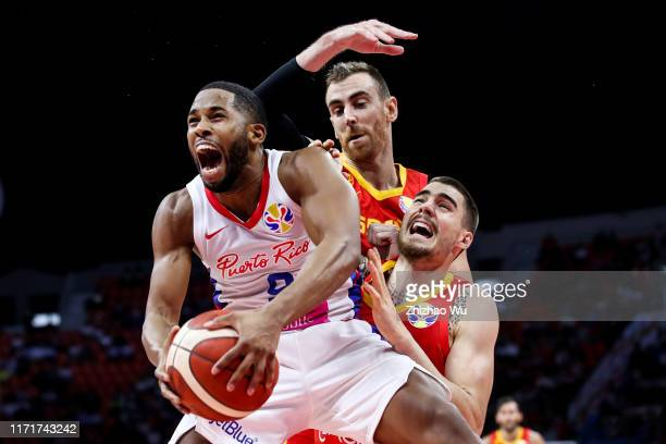 Gary Browne of Puerto Rico competes for the ball during the 2019 FIBA World Cup, first round match between Puerto Rico and Spain at Guangzhou...