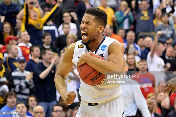 Gary Browne of the West Virginia Mountaineers reacts after a play late in the second half against the West Virginia Mountaineers during the second...