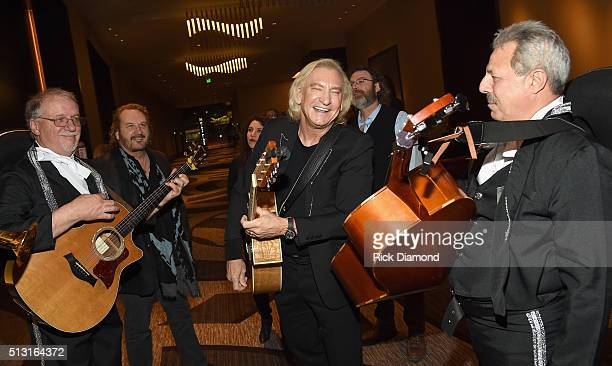 Gary Burr joins Joe Walsh of The Eagles backstage at the TJ Martell Foundation 8th Annual Nashville Honors Gala at the Omni Nashville Hotel on...