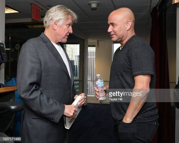 Gary Busey and Andre Agassi visit the SiriusXM Studios on September 5 2018 in New York City
