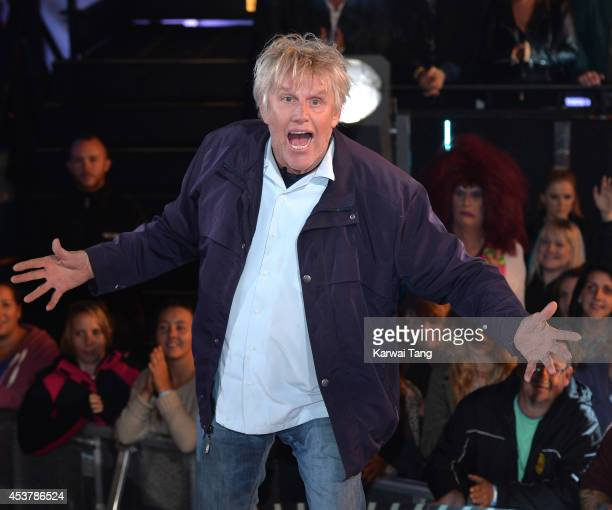 Gary Busey enters the Celebrity Big Brother house at Elstree Studios on August 18 2014 in Borehamwood England