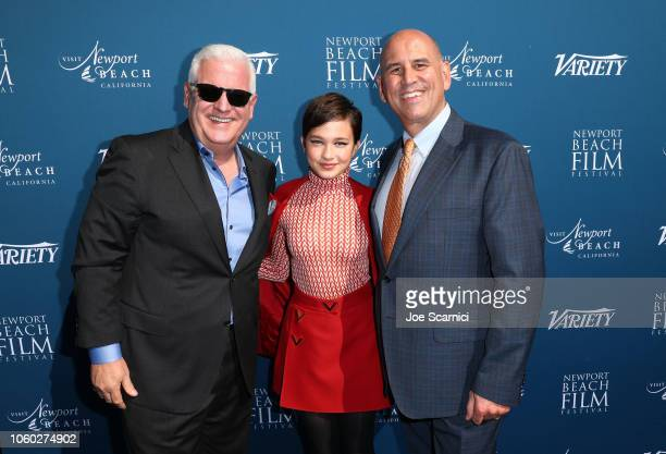 Gary C Sherwin President CEO Newport Beach Company Cailee Spaeny and Gregg Schwenk CEO Executive Director Newport Beach Film Festival attend the...