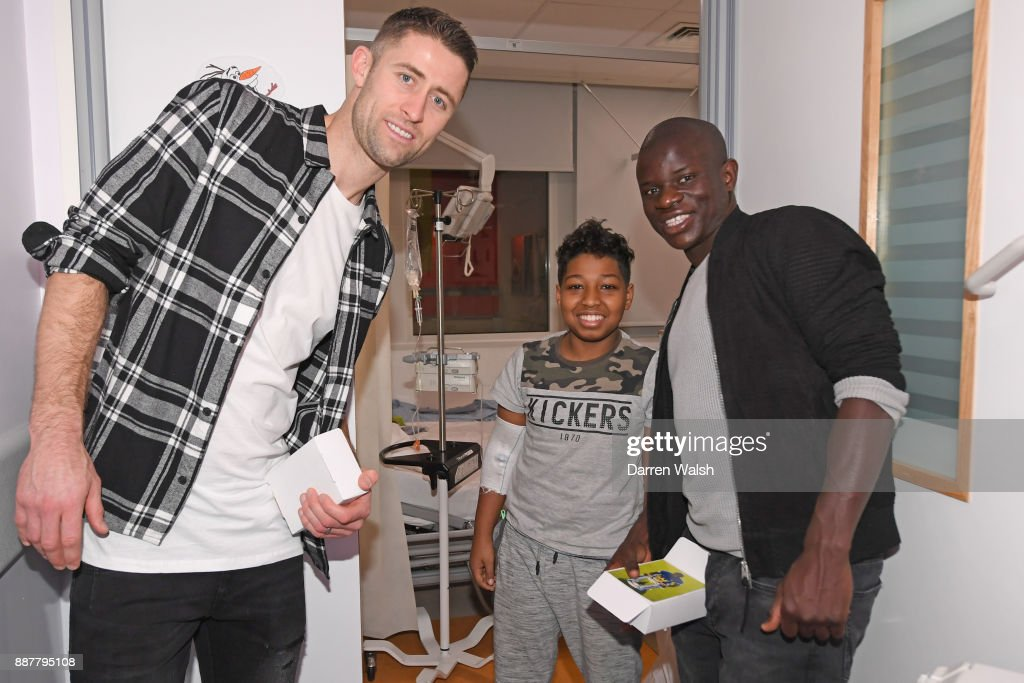 Gary Cahill and N'golo Kante of Chelsea at the Chelsea and Westminster Hospital on December 7, 2017 in London, England.