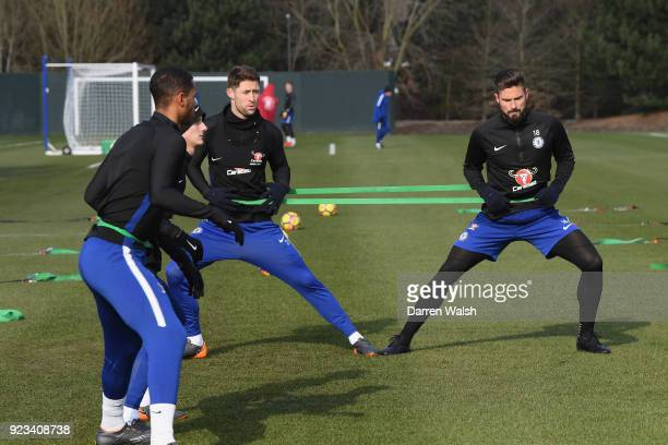 Gary Cahill and Olivier Giroud of Chelsea during a training session at Chelsea Training Ground on February 23 2018 in Cobham United Kingdom