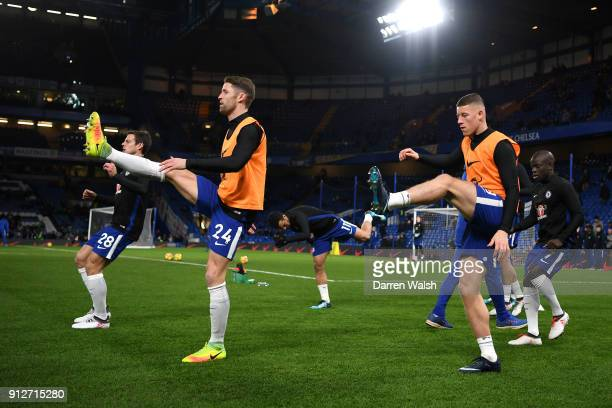 Gary Cahill and Ross Barkley of Chelsea warm up prior to the Premier League match between Chelsea and AFC Bournemouth at Stamford Bridge on January...