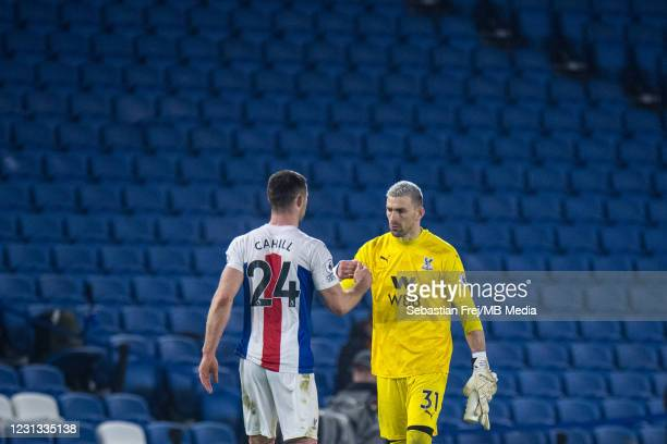 Gary Cahill and Vicente Guaita of Crystal Palace during the Premier League match between Brighton & Hove Albion and Crystal Palace at American...