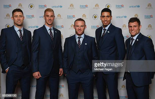 Gary Cahill Joe Hart Wayne Rooney Chris Smalling and James Milner pose during the England Footballers Foundation charity event at Sopwell House on...