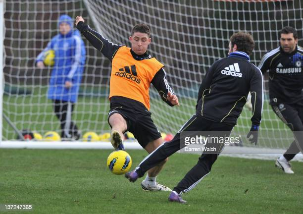 Gary Cahill Juan Mata of Chelsea during a training session at the Cobham training ground on January 17 2012 in Cobham England