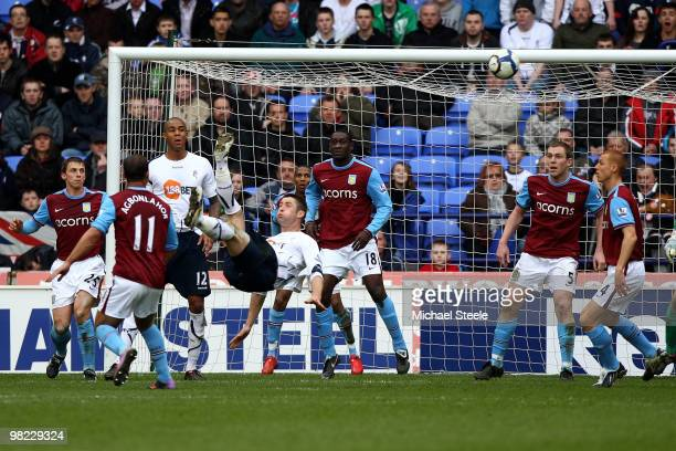 Gary Cahill of Bolton hits an overhead kick which went narrowly wide during the Bolton Wanderers and Aston Villa Barclays Premier League match at The...