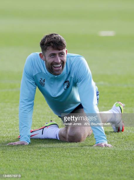 Gary Cahill of Bournemouth during a training session at the Vitality Stadium on October 14, 2021 in Bournemouth, England.