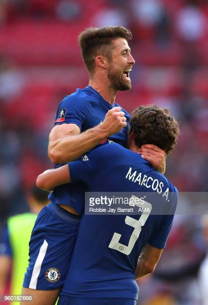 Gary Cahill of Chelsea and Marcos Alonso celebrate at the end of the Emirates FA Cup Final between Chelsea and Manchester United at Wembley Stadium...