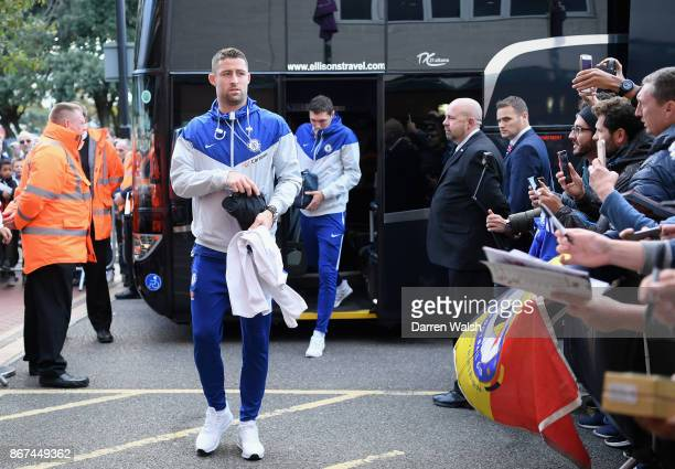 Gary Cahill of Chelsea arrives prior to the Premier League match between AFC Bournemouth and Chelsea at Vitality Stadium on October 28 2017 in...