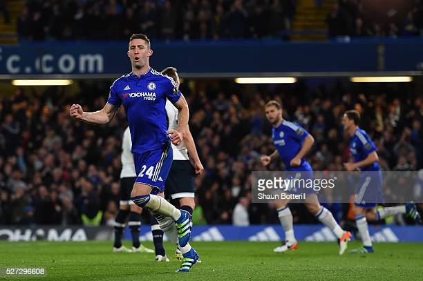 Gary Cahill of Chelsea celebrates after scoring his team's first goal during the Barclays Premier League match between Chelsea and Tottenham Hotspur...