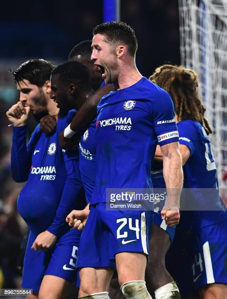 Gary Cahill of Chelsea celebrates after teammate Alvaro Morata scores his sides second goal during the Carabao Cup QuarterFinal match between Chelsea...