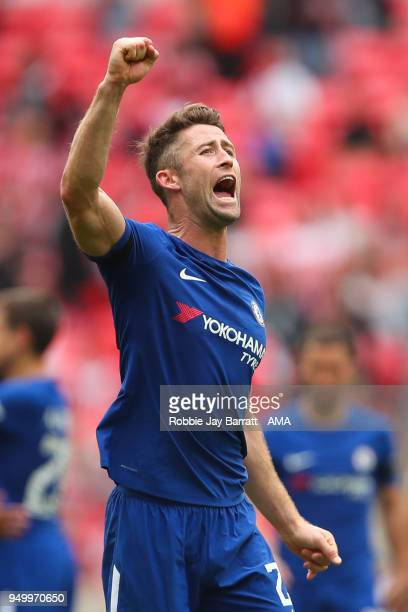 Gary Cahill of Chelsea celebrates at full time during The Emirates FA Cup Semi Final match between Chelsea and Southampton at Wembley Stadium on...