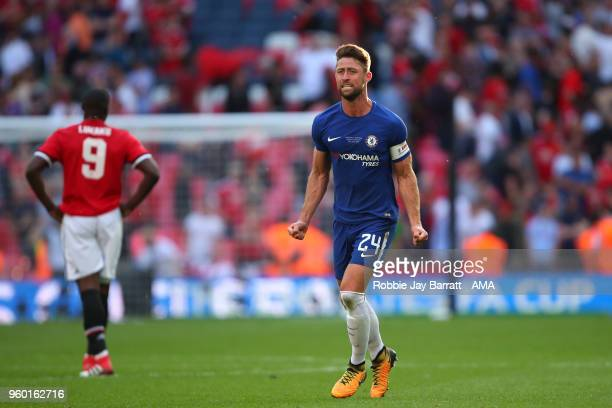Gary Cahill of Chelsea celebrates at the end of the Emirates FA Cup Final between Chelsea and Manchester United at Wembley Stadium on May 19 2018 in...