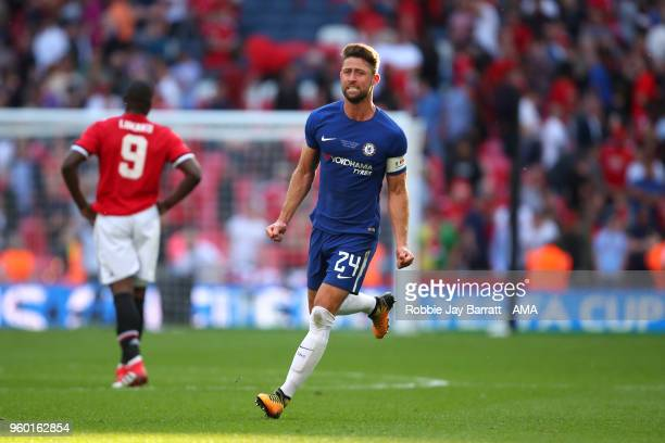 Gary Cahill of Chelsea celebrates at the end of the Emirates FA Cup Final between Chelsea and Manchester United at Wembley Stadium on May 19, 2018 in...