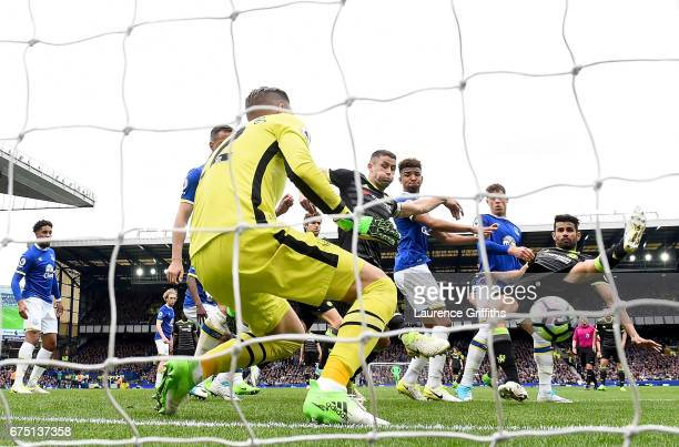 Gary Cahill of Chelsea celebrates scoring his sides second goal past Maarten Stekelenburg of Everton during the Premier League match between Everton...