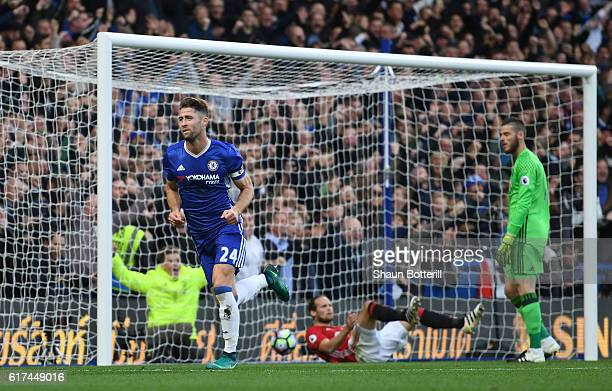Gary Cahill of Chelsea celebrates scoring his sides second goal during the Premier League match between Chelsea and Manchester United at Stamford...