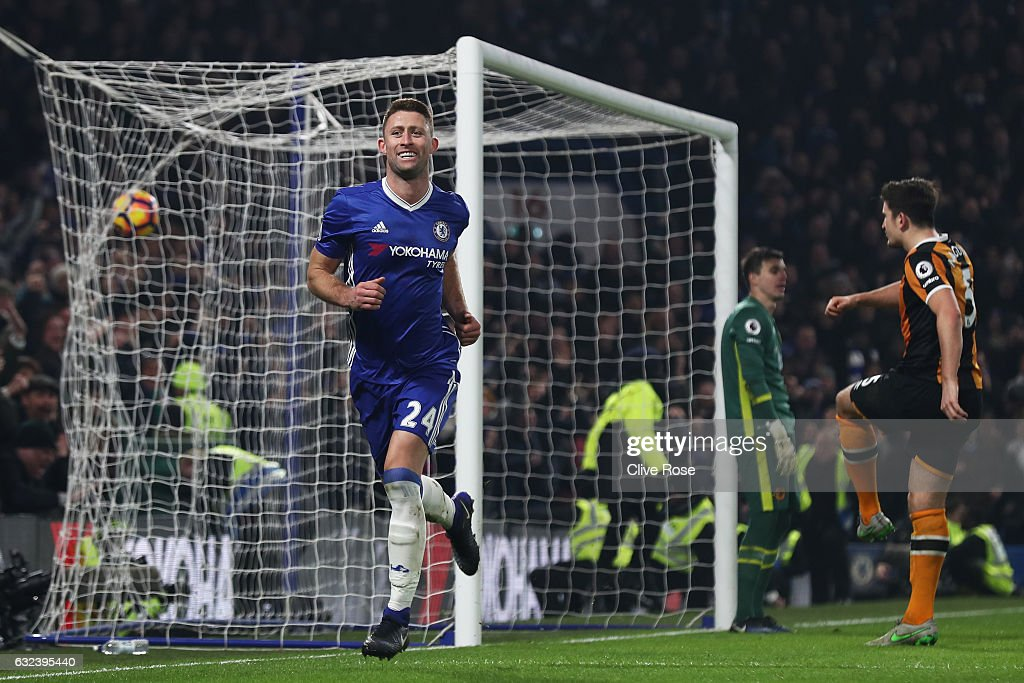 Gary Cahill of Chelsea celebrates scoring his side's second goal during the Premier League match between Chelsea and Hull City at Stamford Bridge on January 22, 2017 in London, England.