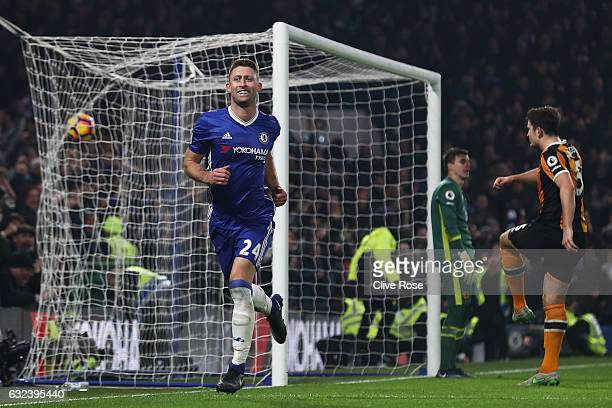 Gary Cahill of Chelsea celebrates scoring his side's second goal during the Premier League match between Chelsea and Hull City at Stamford Bridge on...