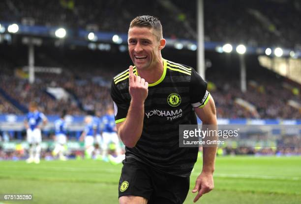 Gary Cahill of Chelsea celebrates scoring his sides second goal during the Premier League match between Everton and Chelsea at Goodison Park on April...