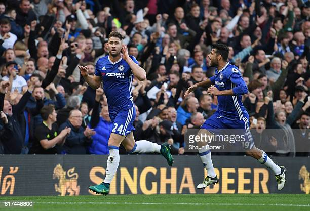 Gary Cahill of Chelsea celebrates scoring his sides second goal with Diego Costa of Chelsea during the Premier League match between Chelsea and...