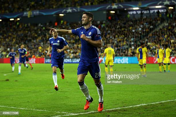 Gary Cahill of Chelsea celebrates scoring the opening goal during the UEFA Champions League Group G match between Maccabi TelAviv FC and Chelsea FC...